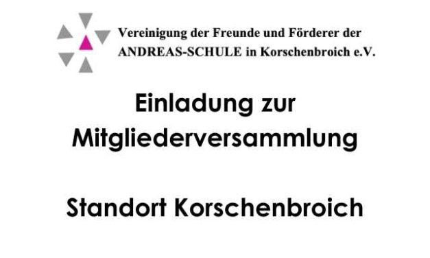Einladung zur Mitgliederversammlung Förderverein Korschenbroich